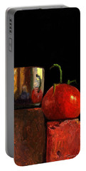Jefferson Cup With Tomato And Sedona Bricks Portable Battery Charger by Catherine Twomey