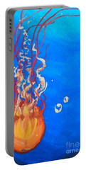 Portable Battery Charger featuring the painting Jellyfish by Marisela Mungia