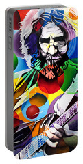 Jerry Garcia In Bubbles Portable Battery Charger by Joshua Morton
