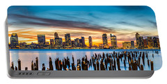 Jersey City Panorama At Sunset Portable Battery Charger by Mihai Andritoiu