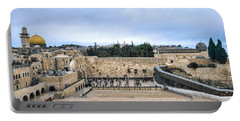 Jerusalem The Western Wall Portable Battery Charger by Ron Shoshani