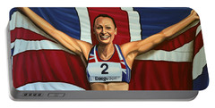 Jessica Ennis Portable Battery Charger by Paul Meijering