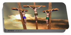 Jesus And The Two Thieves On The Cross Portable Battery Charger