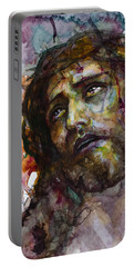 Portable Battery Charger featuring the painting Jesus Christ by Laur Iduc