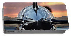 Airplane At Sunset Portable Battery Charger