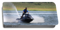 Jet Skier Portable Battery Charger by John Telfer