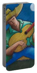 Portable Battery Charger featuring the painting Jibaro Bajo La Luna by Oscar Ortiz