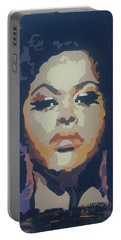 Portable Battery Charger featuring the painting Jill Scott by Rachel Natalie Rawlins