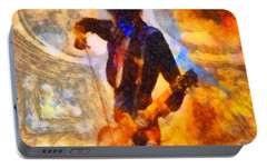 Jimmy Page Playing Guitar With Bow Portable Battery Charger by Dan Sproul