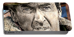 Portable Battery Charger featuring the mixed media Jimmy Stewart  by Gary Keesler