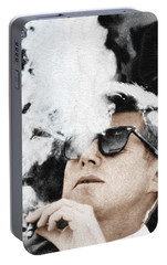 John F Kennedy Cigar And Sunglasses Portable Battery Charger by Tony Rubino