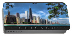John Hancock Chicago Skyline Panorama Poster Portable Battery Charger by Christopher Arndt