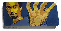 Portable Battery Charger featuring the painting John Legend by Rachel Natalie Rawlins