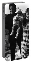 Portable Battery Charger featuring the photograph Johnny Cash And Family Old Tucson Arizona 1971 by David Lee Guss