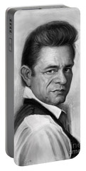 Johnny Cash Portable Battery Charger by Andre Koekemoer