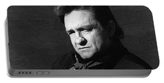 Portable Battery Charger featuring the photograph Johnny Cash Close-up The Man Comes Around Music Homage Old Tucson Az  by David Lee Guss