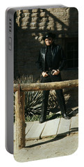 Portable Battery Charger featuring the photograph Johnny Cash Gunfighter Hitching Post Old Tucson Arizona 1971 by David Lee Guss