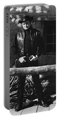 Portable Battery Charger featuring the photograph Johnny Cash Gunslinger Hitching Post Old Tucson Arizona 1971  by David Lee Guss