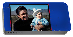 Portable Battery Charger featuring the photograph Johnny Cash John Carter Cash Old Tucson Arizona 1971 by David Lee Guss