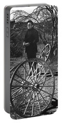 Portable Battery Charger featuring the photograph Johnny Cash  Meditating Wagon Wheel Graveyard Old Tucson Arizona 1971 by David Lee Guss