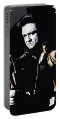 Portable Battery Charger featuring the photograph Johnny Cash Multiples  Trench Coat Sitting Collage 1971-2008 by David Lee Guss
