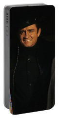 Portable Battery Charger featuring the photograph Johnny Cash Music Homage Solitary Man Flanked By Chill Wills  Andy Devine Old Tucson Az 1971 by David Lee Guss