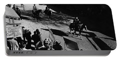 Portable Battery Charger featuring the photograph Johnny Cash Riding Horse Filming Promo Main Street Old Tucson Arizona 1971 by David Lee Guss