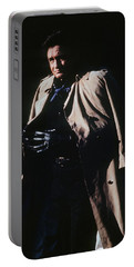 Portable Battery Charger featuring the photograph Johnny Cash Trench Coat Old Tucson Arizona 1971 by David Lee Guss