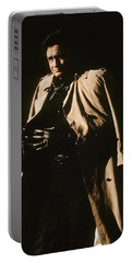 Portable Battery Charger featuring the photograph Johnny Cash Trench Coat Variation  Old Tucson Arizona 1971 by David Lee Guss