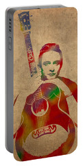 Johnny Cash Watercolor Portrait On Worn Distressed Canvas Portable Battery Charger by Design Turnpike