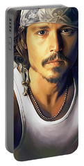 Johnny Depp Artwork Portable Battery Charger by Sheraz A