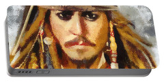 Johnny Depp Jack Sparrow Actor Portable Battery Charger by Georgi Dimitrov