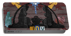 Joy Nativity Scene Recycled License Plate Art Portable Battery Charger