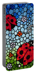 Joyous Ladies Ladybugs Portable Battery Charger by Sharon Cummings
