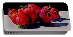 Portable Battery Charger featuring the painting Juicy Strawberries by Sher Nasser