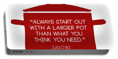 Portable Battery Charger featuring the digital art Julia Child's Larger Pot by Nancy Ingersoll