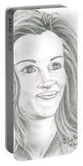 Portable Battery Charger featuring the drawing Julia Roberts by Teresa White