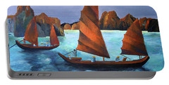 Portable Battery Charger featuring the painting Junks In The Descending Dragon Bay by Tracey Harrington-Simpson