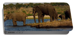 Portable Battery Charger featuring the photograph Kalahari Elephants Preparing To Cross Chobe River by Amanda Stadther