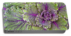 Kale Plant In The Rain Portable Battery Charger