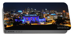 Kansas City Union Station In Blue  Portable Battery Charger by Catherine Sherman