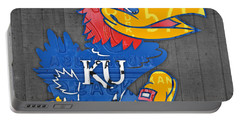 Kansas Jayhawks College Sports Team Retro Vintage Recycled License Plate Art Portable Battery Charger by Design Turnpike