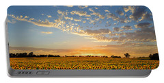 Kansas Sunflowers At Sunset Portable Battery Charger by Catherine Sherman
