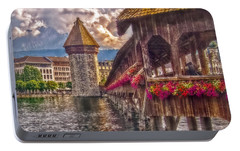 Portable Battery Charger featuring the photograph Kapellbruecke by Hanny Heim