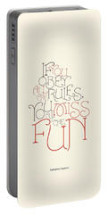 Katharine Hepburn Typographic Quotes Poster Portable Battery Charger