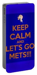 Keep Calm And Lets Go Mets Portable Battery Charger by James Kirkikis