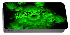 Keep Calm - Green Fractal Weed Art Portable Battery Charger