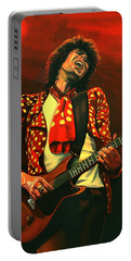 Keith Richards Painting Portable Battery Charger by Paul Meijering