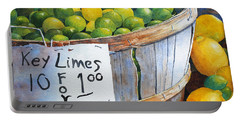 Portable Battery Charger featuring the painting Key Limes Ten For A Dollar by Roger Rockefeller