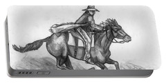 Portable Battery Charger featuring the drawing Kickin Up Dust by Shana Rowe Jackson